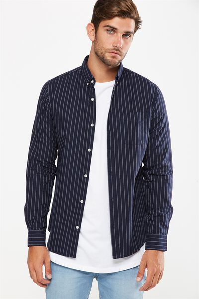 Brunswick Shirt 3, NAVY WHITE STRIPE