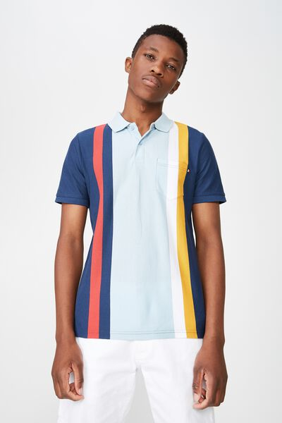 Icon Polo, NAVY SKY RED BOLD STRIPE