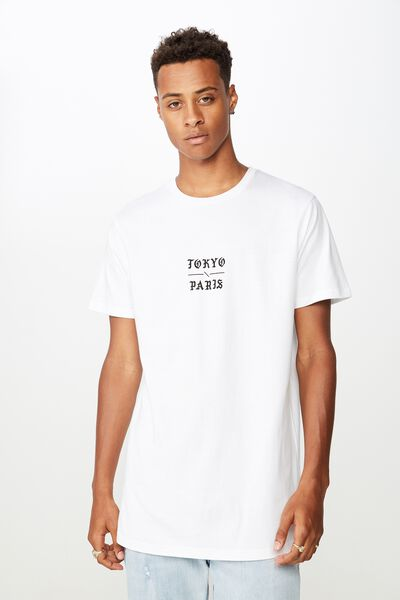 Longline Scoop Hem Tee, WHITE/NEVERMIND THE CHAOS
