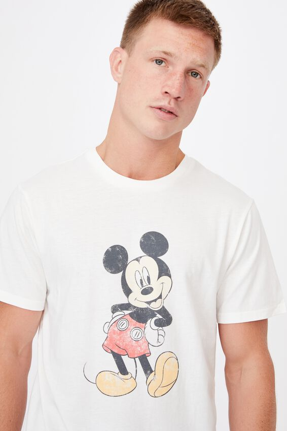 Tbar Collab Character T-Shirt, LCN DIS VINTAGE WHITE/MICKY MOUSE-VINTAGE POS
