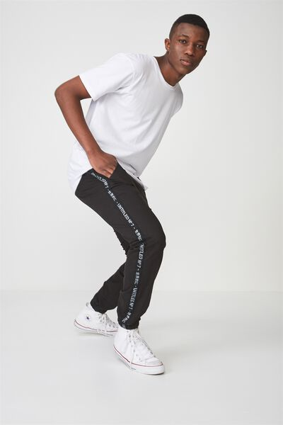 Drake Cuffed Pant, BLACK LOGO STRIPE