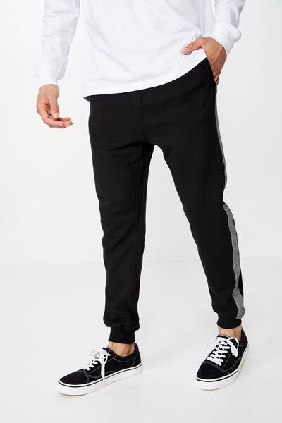 Brunswick Slim Track Jogger, BLACK / CHECK SIDE PANEL