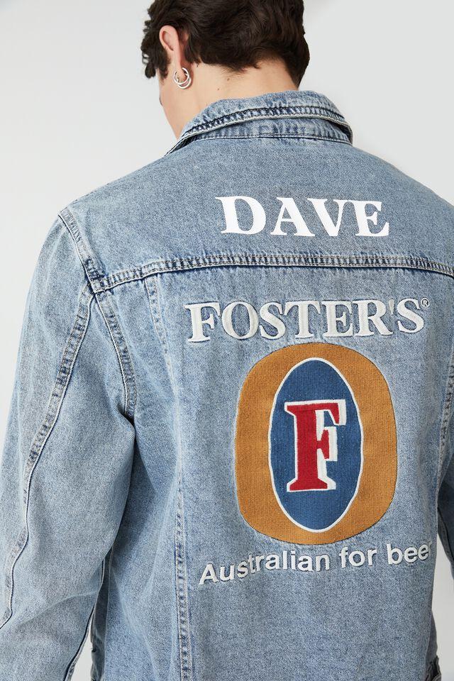Fosters Denim Jacket Personalised, LCN CUB BECKLEY BLUE