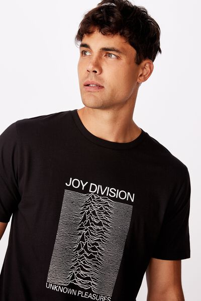 Tbar Collab Music T-Shirt, LCN WMG BLACK/JOY DIVISION - UNKNOWN PLEASURES