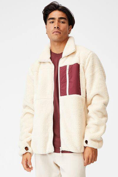 Active Polar Fleece Zip Thru, BONE BURGUNDY