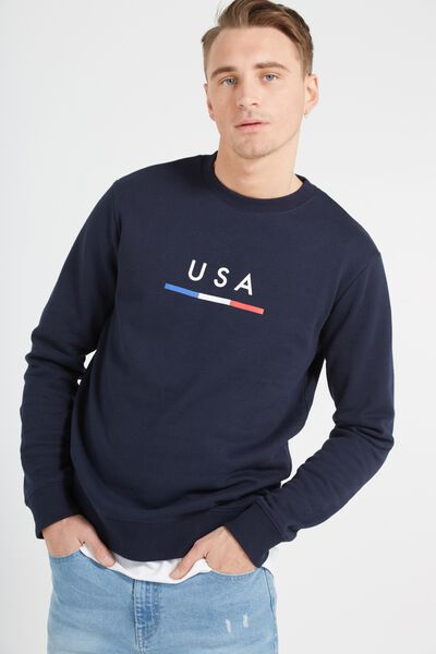 Crew Fleece 2, INK NAVY/USA BAR