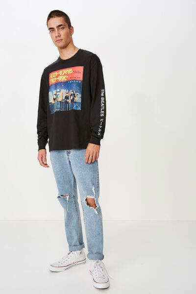 Tbar Collaboration Ls Tee, LCN APP WASHED BLACK/THE BEATLES JAPANESE