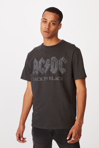 Tbar Collab Music T-Shirt, LCN PER WASHED BLACK/ACDC-BACK IN BLACK