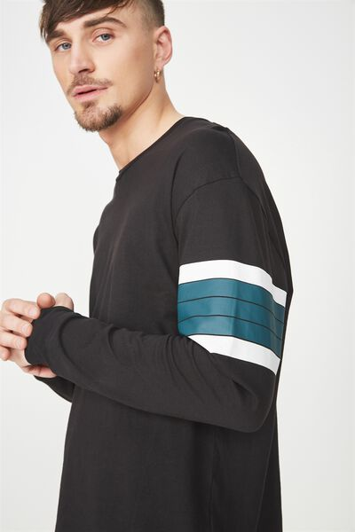 Graduate Ls Tee, BLACK/WHITE/DARK TEAL STRIPE