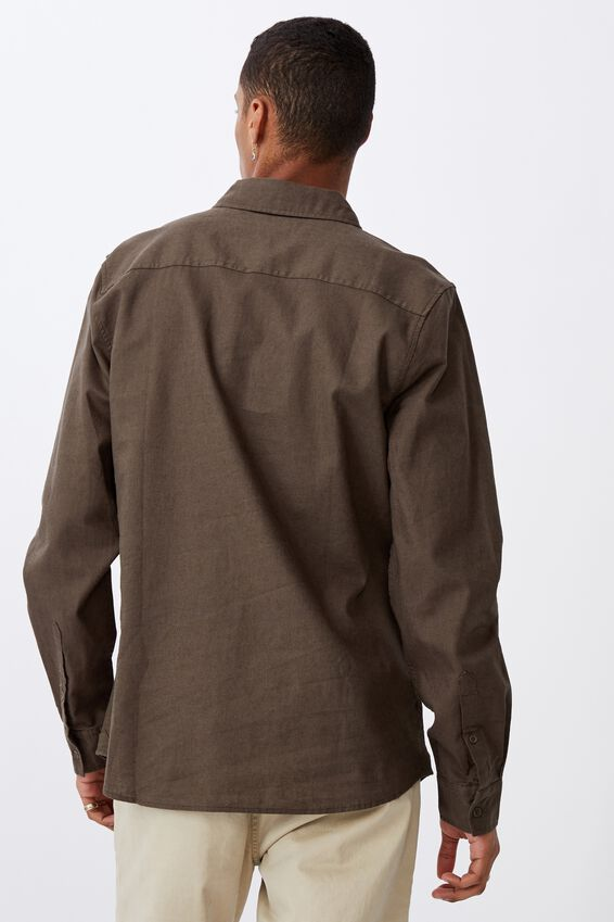Linen Cotton Long Sleeve Shirt, KHAKI