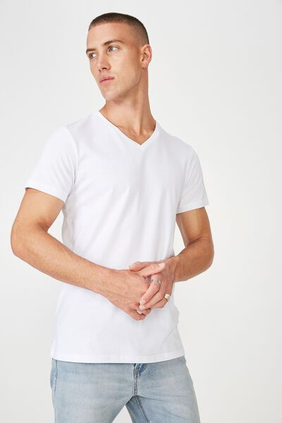 Essential Vee Neck, WHITE