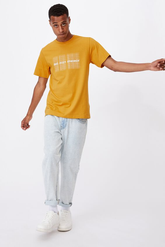 Tbar Text T-Shirt, REGAL YELLOW/BIG 2021 ENERGY