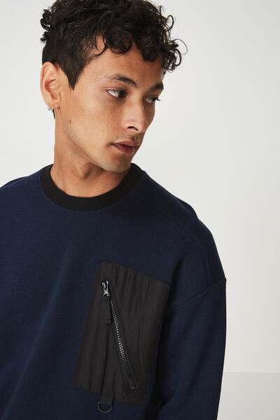 Drop Shoulder Crew Fleece, MIDNIGHT NAVY/BLACK NYLON CHEST POCKET
