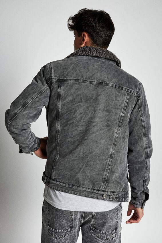 Borg Denim Jacket, WASHED GREY