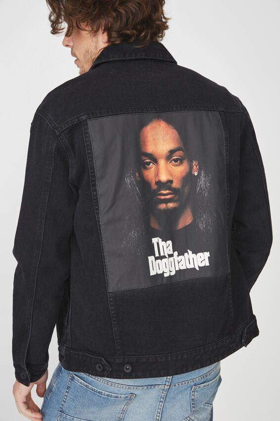 Snoop Dog Denim Jacket, THE DOGGFATHER/BLACK