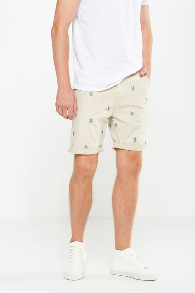 Washed Chino Short, TAN / EMBROID