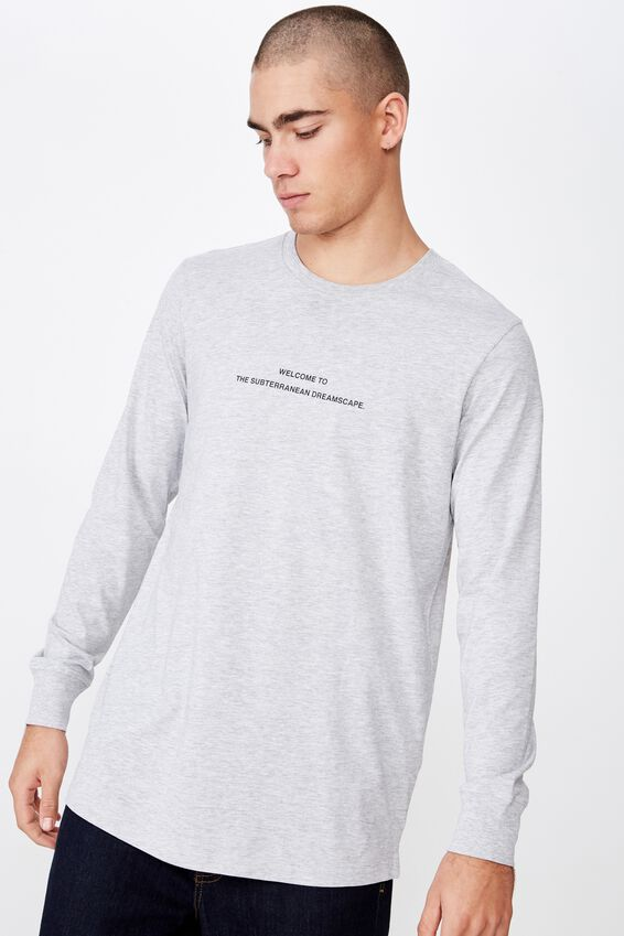 Long Sleeve Curved Hem, GREY MARLE/NEVERMIND THE CHAOS