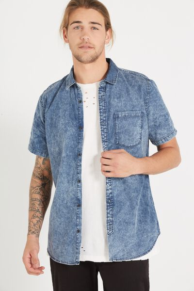 91 Short Sleeve Shirt, ACID WASH INDIGO