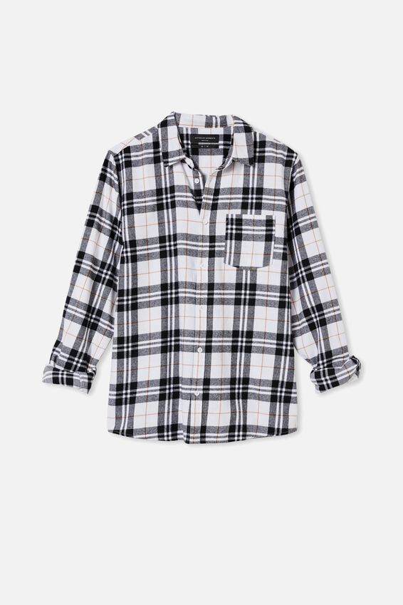 Washed Long Sleeve Check Shirt, WHITE CHECK