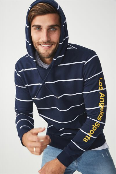 Fleece Pullover 2, TRUE NAVY/WHITE STRIPE/LA SPORTS