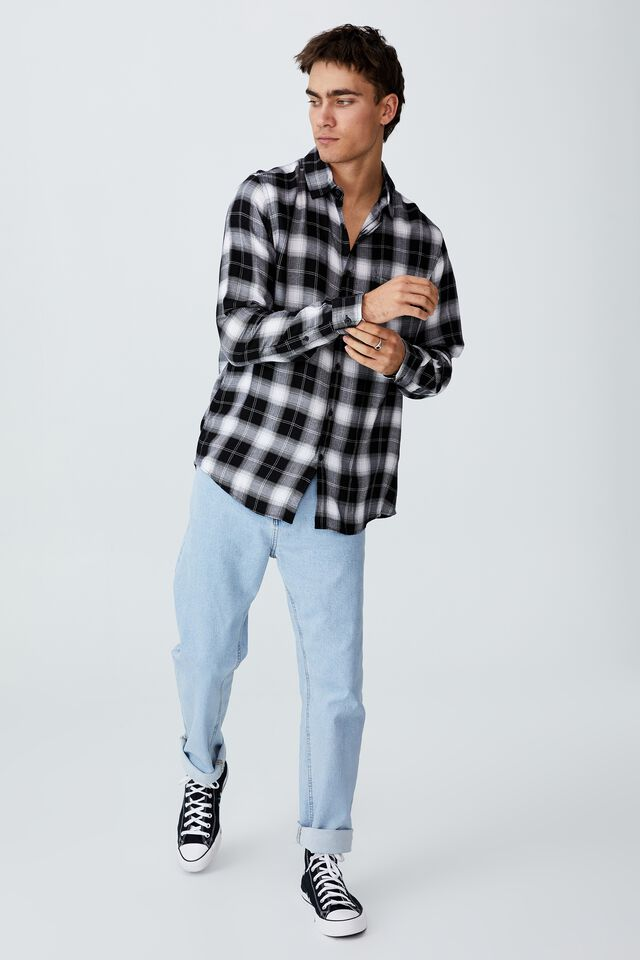 Cayman Long Sleeve Shirt, WHITE BLACK CHECK
