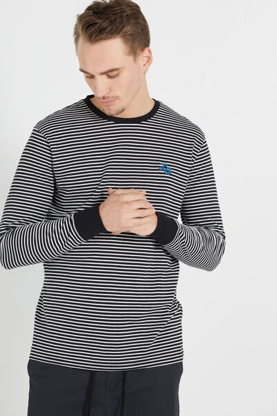 Tbar Long Sleeve, BLACK/LIGHT GREY MARLE STRIPE/LA