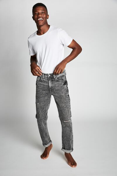 Tapered Leg Jean, AGED GREY + RIPS