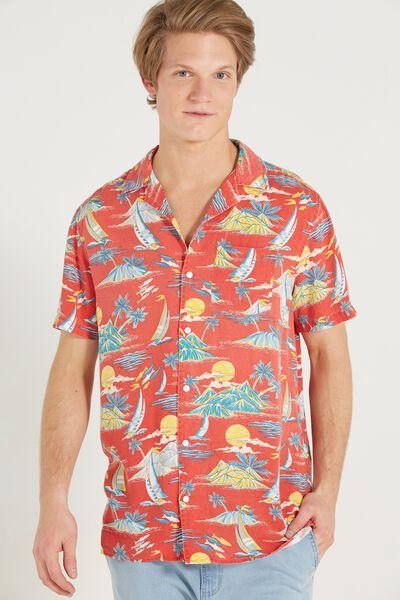 91 Short Sleeve Shirt, RED ALOHA SLIM
