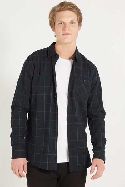 Rugged Long Sleeve Shirt, TEAL CHECK