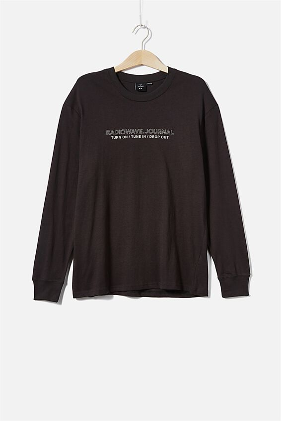 Tbar Long Sleeve, WASHED BLACK TUNE IN DROP OUT
