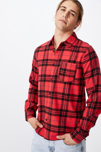 Washed Long Sleeve Light Check Shirt, BLACK RED CHECK