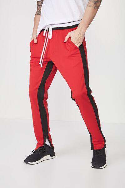 Urban Side Stripe Track Pant, RED / BLACK PANEL