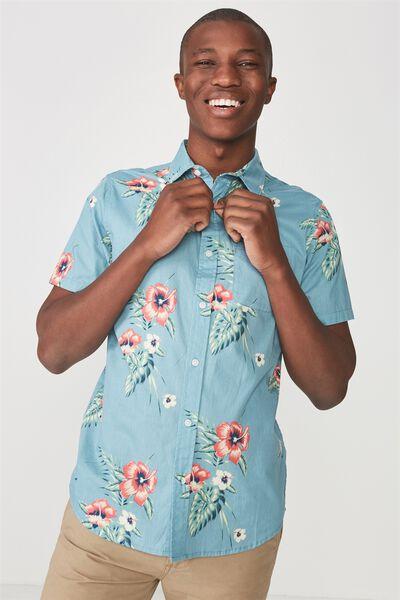 Vintage Prep Short Sleeve Shirt, WAIKIKI