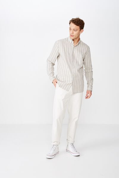 Premium Linen Cotton Long Sleeve Shirt, NATURAL STRIPE