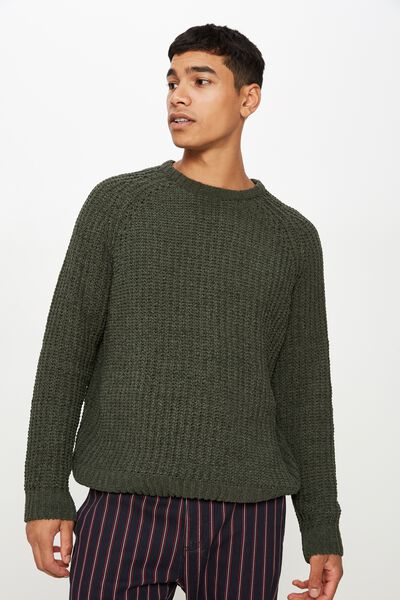 Chenille Crew Knit, FOREST
