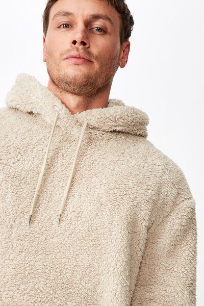 Drop Shoulder Teddy Fleece Hood, BEIGE