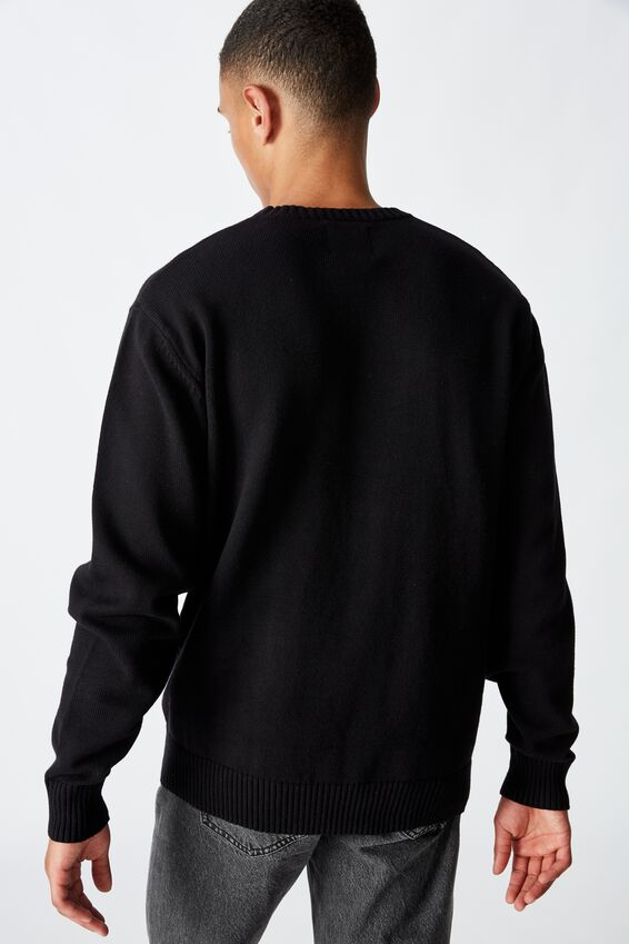 Crew Knit, SOLID BLACK