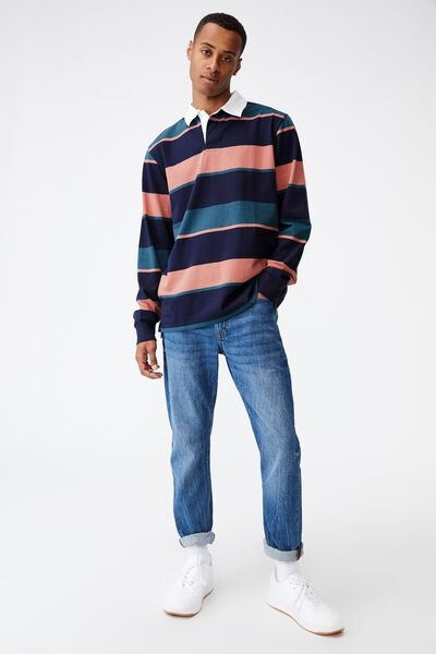 Rugby Long Sleeve Polo, NAVY MULTI STRIPE