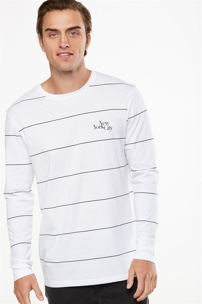 Tbar Long Sleeve, WHITE/BLACK WIDE STRIPE/NEW YORK SLANT
