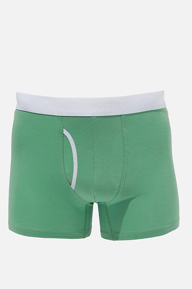 Mens Cotton Trunks, APPLE GREEN/WHITE