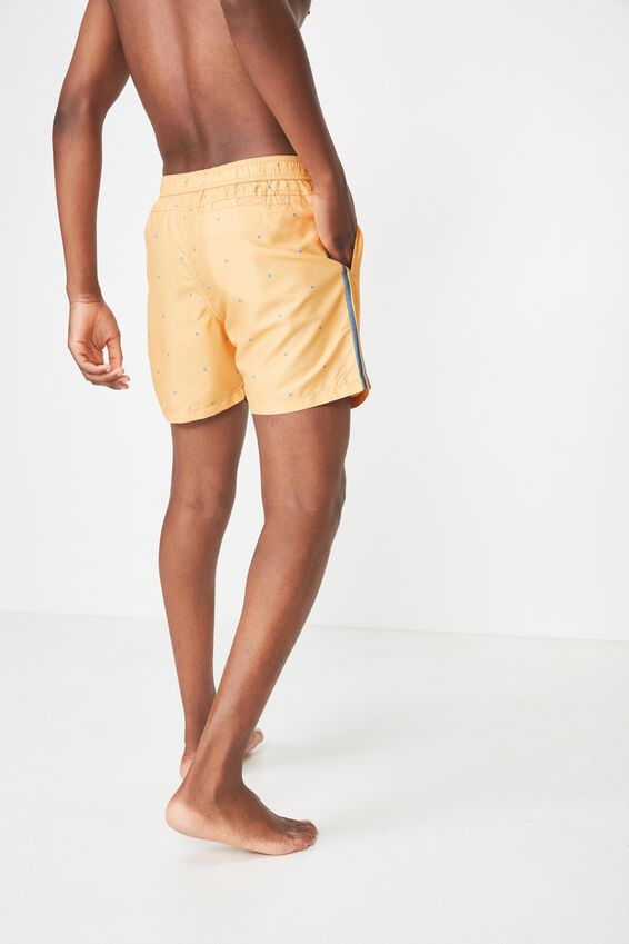 Swim Short, PEACH DITSY / SIDE STRIPE