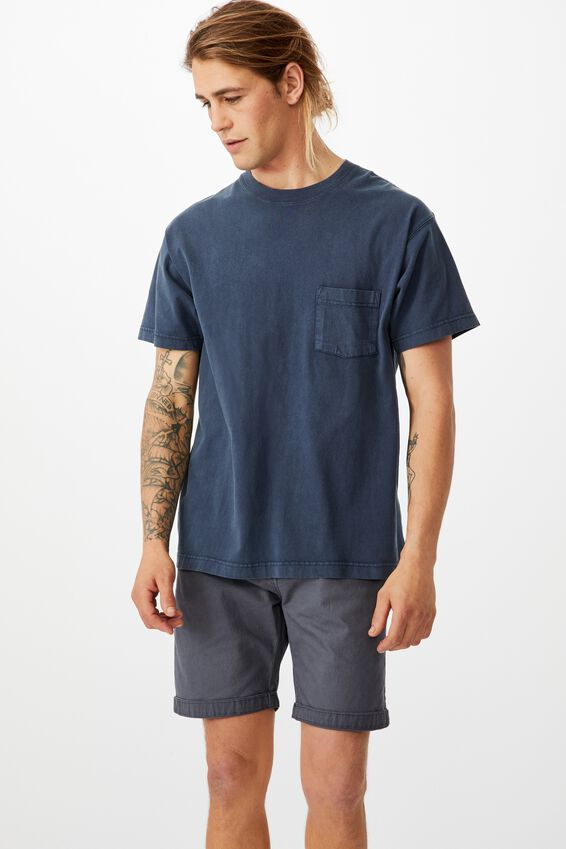 Washed Chino Short, PIGMENT NAVY