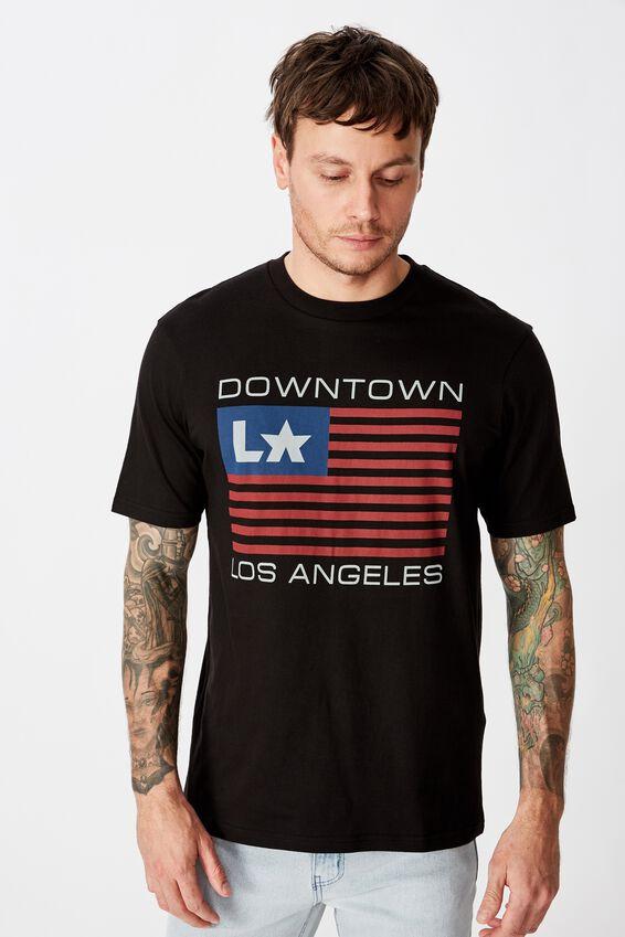 Tbar Text T-Shirt, SK8 BLACK/DOWNTOWN LA FLAG