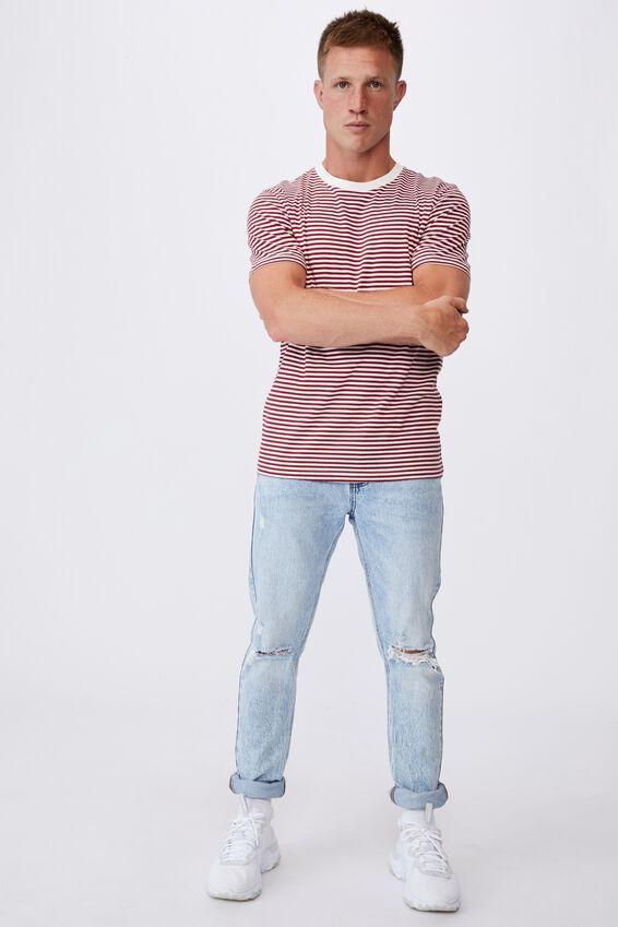 Tbar Premium T-Shirt, CHILLI PEPPER/VINTAGE WHITE 50/50 STRIPE