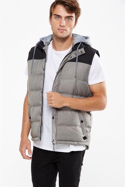 Textured Puffer Vest, GREY