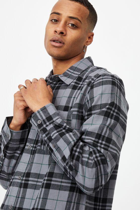 Washed Long Sleeve Light Check Shirt, BLACK CHECK