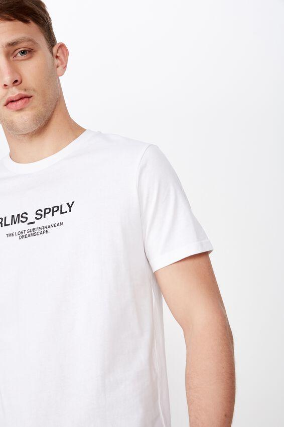 Longline Scoop Hem Tee, WHITE/RLMS SPPLY
