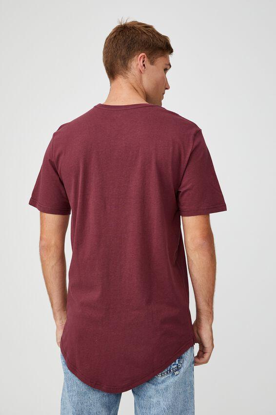 Essential Longline Scoop T-Shirt, BURGUNDY
