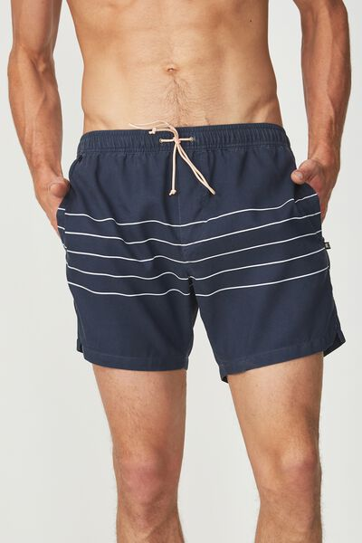 Swim Short, NAVY STRIPED WASHED