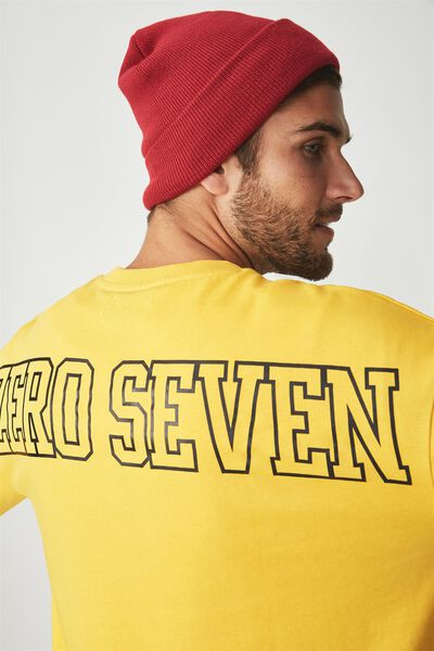 Drop Shoulder Crew Fleece, SAFETY YELLOW/ZERO SEVEN